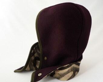 Hooded Scarf, Hooded Cowl in Purple: Festival Hood, Winter Hood, Women's Hats, Boiled Wool, Linen Lining, Geometric Patterned, Gift for Her