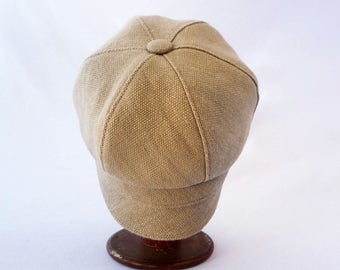 Casual Hat, Newsboy Hat, Natural Linen, Khaki, Spring Style,  Tan Linen, Bad Hair Day Hat, Womens Hat, Mens Hat, Summer Fashion, Cute Cap