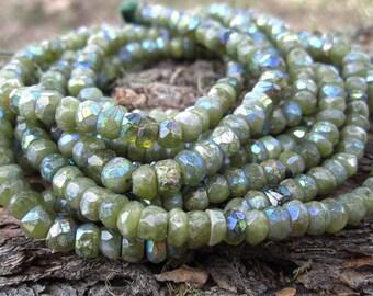 Mystic AB Vesuvianite - faceted semiprecious gemstones - 5mm X 3mm - 6 1/4 inches