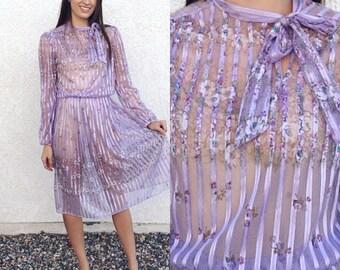 Vintage 80's sheer lilac ribbon striped floral dress