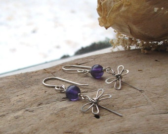 Dragonfly earrings, sterling silver earrings, amethyst earrings, purple bead earrings