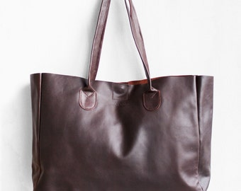 Espresso Brown Leather Shopper / Leather Handbag / Leather Tote / Shoulder Bag / Brown Leather Bag / Leather Bag / Women's Handbag /