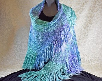 Handwoven Shawl in sea green, lilac, and light blue plaid