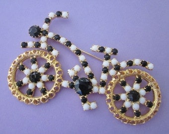 SALE Vintage Rhinestone Bicycle Brooch