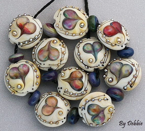 DSG Beads Artisan Debbie Sanders Glass Handmade Lampwork Glass Beads Organic Beads ~Rainbow Hearts~ Made To Order Set Of Lentils
