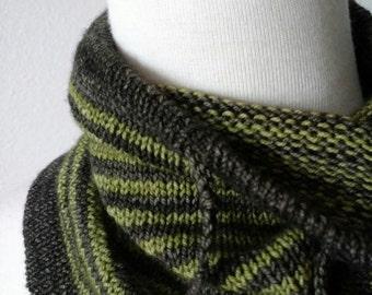 Grey Reef Cowl Prototype - Hand Knit in Ultrasoft Mulesing-free 100% Superwash Merino Wool. Grey Green Striped Cowl with Drawstring