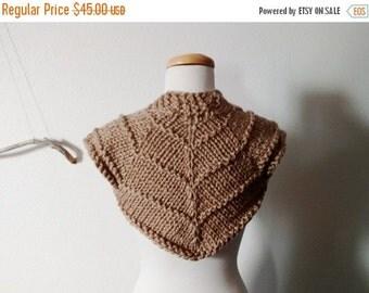 January Sale Future Bohemian Carapace Shrug - Hand Knit Bulky Knit Shrug Sweater Vest Women's Alternative Fall Fashion Camel Tan US XS-S Cro