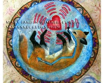 Fine Art Print, Fox Totem, Woodland Artwork, Spiritual Fox,Totem Animal, Mystical Indian Fox, Nursery Decor, Native American, Child