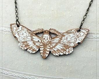 Death's Head Moth, Hawk Moth Brooch white maple Variant
