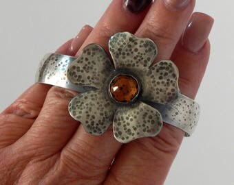 Silver Cuff Bracelet 925 Sterling Silver Flower Bracelet Handmade Jewelry Gift For Her Flower Jewelry Silver Bracelet Floral Bracelet