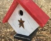 Primitive Diamond Shape Birdhouse Unique Country Holiday White Red Home Garden