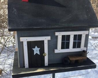 Primitive Country Cabin Grey Birdhouse Handmade Bench Brick Chimney