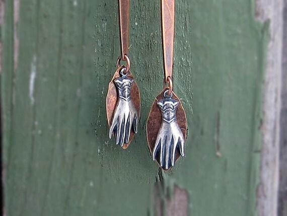 Hand earrings Mixed metal earrings Modern Victorian earrings Hipster jewelry