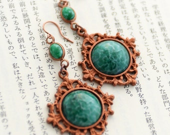 Stunning Green Earrings, Patina Earrings, Faux Malachite Earrings, Victorian Inspired, Elegant Earrings, Emerald Green Stones, OOAK SRAJD