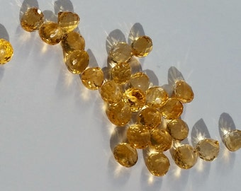 Citrine Beads Faceted Onion Candy Kiss Briolettes Gemstone Teardrops 6mm to 7mm x 6.5mm, Citrine Tear drops, Natural Orange (4 gems)