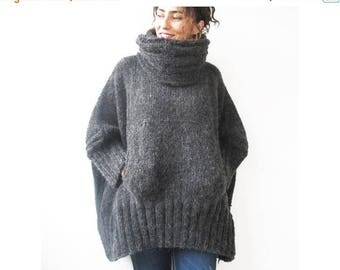 WINTER SALE Dark Gray Hand Knitted Sweater with Accordion Hood and Pocket Plus Size Over Size Tunic - Dress Sweater by Afra