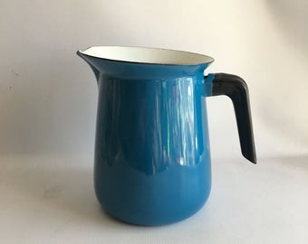 Blue Enamel Water Pitcher Mid Century Bright Blue and White