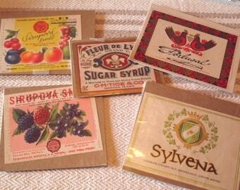 4 Vintage Wine Bottle  and 1 Sugar Syrup Jar Labels