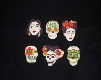 Frida and Sugar Skulls Mexican Art Iron On Patches Applique DIY No Sew