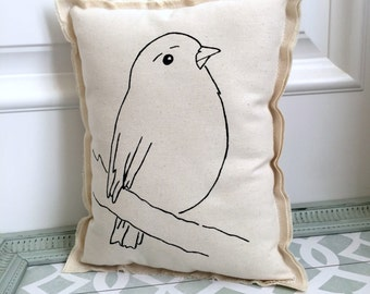 hand painted bird pillow, painted hand drawn bird pillow cushion, natural cotton bird boho urban style simple modern bird pillow -No. 5