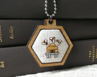 Honeybee Cross Stitch Pendant, Modern Wearable Cross Stitch Mini Hoop, Cross Stitch Keepsake Bee Skep Necklace