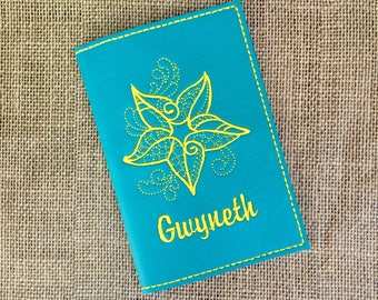 Personalized Passport Cover for Women - Turquoise Vinyl Passport Holder - Starfish Motif Passport Cover with Name - Travel Gift for Her