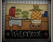 Primitive Welcome 11x14 Canvas Sheep-Pineapple-Saltbox House Home Decor Wall Art