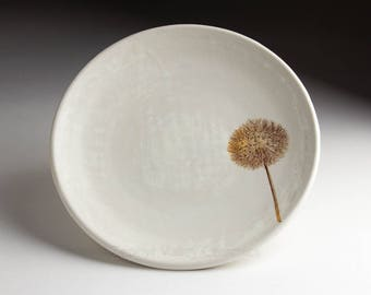 Ceramic Dessert Plate - Pottery Botanical Plate - Stoneware Salad Plate - Dandelion - 8 inch white plate