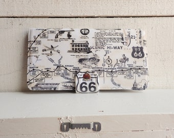 Handmade Wallet - BiFold Clutch Wallet  / US Route 66 -- Ready to Ship