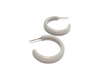 Light Grey Hoops | Light Smoke Gray Skinny Perfect Hoop Earrings | lucite vintage hoop earrings