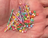 Miniature Fimo Candy - Cut Rock - Old Fashioned Hard Candy - Polymer Clay - Old Fashioned Stick Candy - Huge Lot - Small Size