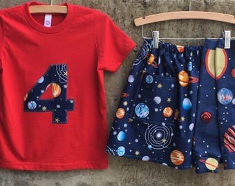 Girls Solar System Leg Warmers, Skirt, Shirt or Baby Bodysuit - Baby, Toddler, Big Kid Sizes - Birthday Gift  or Photo Shoot, Party Outfit