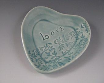 Heart Shaped Trinket Tray Pastel Blue Green Love