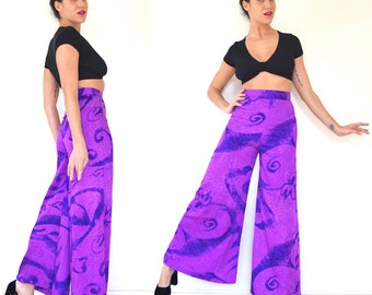 Vintage 70s Purple Abstract Print High Waisted Palazzo Pants (size xs)