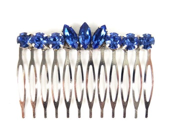 Blue Rhinestone Hair Comb - Vintage Style Blue Hair Accessory