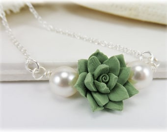 Pale Succulent Pearl Necklace - Succulent Pearl Jewelry for Succulent Wedding