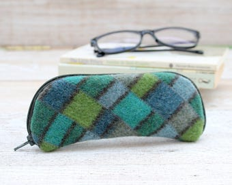 Glasses Case Felted Wool Glasses Case in Greens