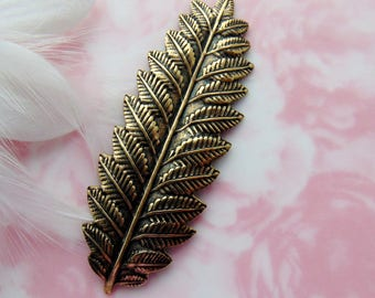 ANTIQUE BRASS * Large Woodland Fern Leaf Stamping - Jewelry Ornament Findings ~ Brass Stamping (FB-6022)