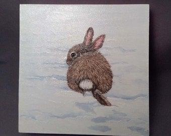 Original Bunny Painting Acrylic 4 x 4