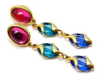 Vintage 1980s Swarovski swan signed pink blue green glass dangling earrings