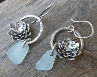 Light Blue Sea Glass and Sterling Silver Succulent Earrings
