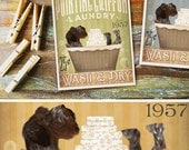 Wirehaired Pointing Griffon dog laundry basket company laundry room artwork UNFRAMED signed print by stephen fowler geministudio