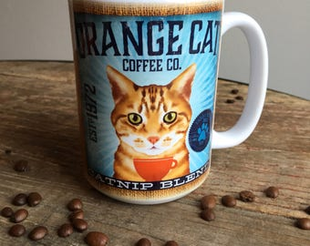 Orange Tabby Cat Coffee company graphic art MUG 15 oz ceramic coffee mug