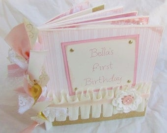 CUSTOM Premade Mini Scrapbook Album - PERSONALIZED --  BaBY'S FiRST BiRthDaY -- Paper Bag book - YoU PiCK theme and colors - any birthday!