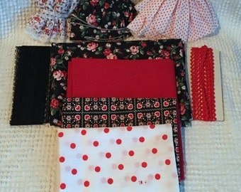 Assortment of Vintage Red / White / Black Fabrics and Trims - Roses, Hearts and Polka Dots - For Crafting and Sewing