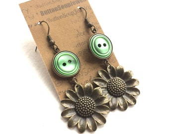 Sunflower and Green Buttons Dangle Earrings