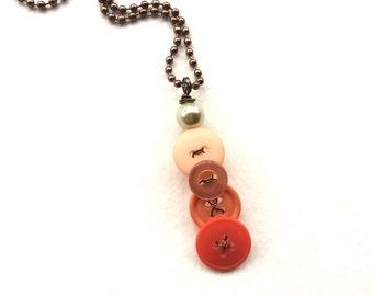Orange Ombre Vintage Button Pendant Necklace