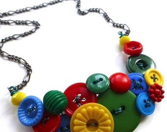 Summer Sale Funky Button Necklace in Primary Red, Yellow, and Blue plus Green
