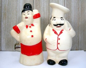 Salt and Pepper Shakers Italian Chef and Sexy Wife - Vintage 1940s - White with Red and Black Trim - Italian Restaurant or Kitchen Decor