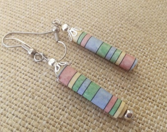 Upcycled Pastel Shebet Rainbow Paper Bead Earrings, Ln469, Light weight, Recycled, Reclaimed Jewelry, by Lynn
